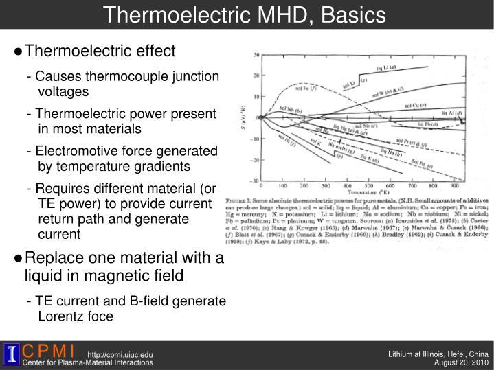 Thermoelectric MHD, Basics
