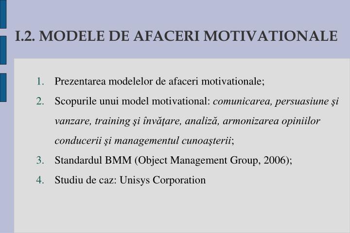 I.2. MODELE DE AFACERI MOTIVATIONALE