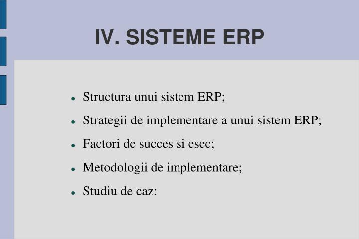 IV. SISTEME ERP