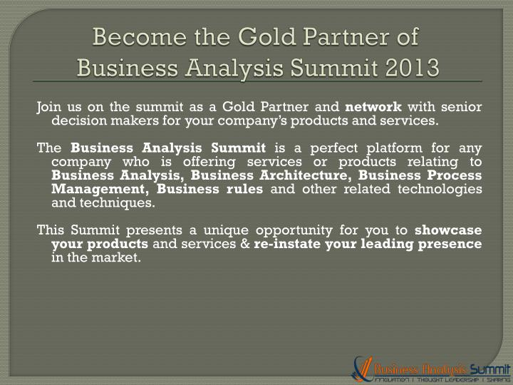 Become the Gold Partner of