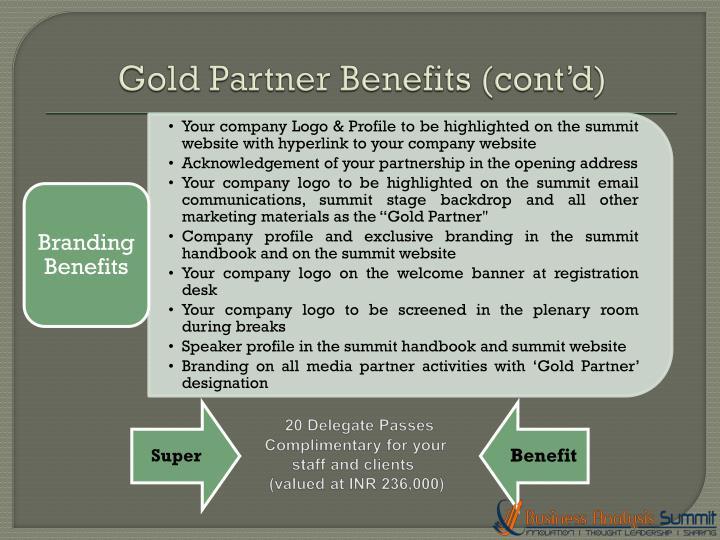 Gold Partner Benefits (cont'd)