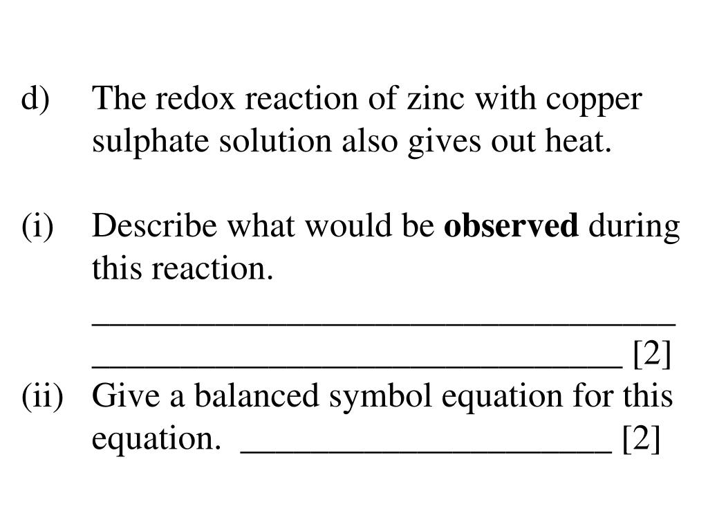 PPT - GCSE Questions and Answers Redox Chemistry and