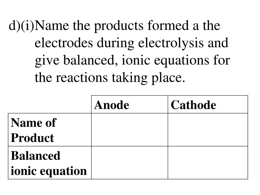 PPT - GCSE Questions and Answers Redox Chemistry and Electrolysis
