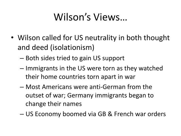 Wilson's Views…