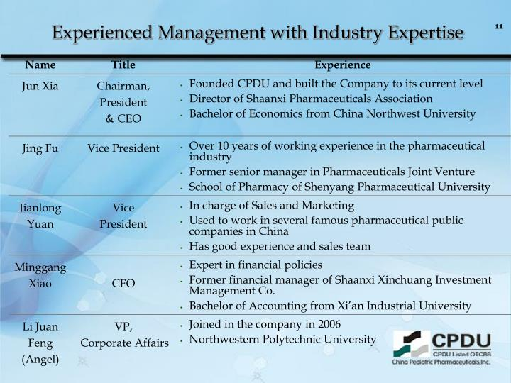 Experienced Management with Industry Expertise