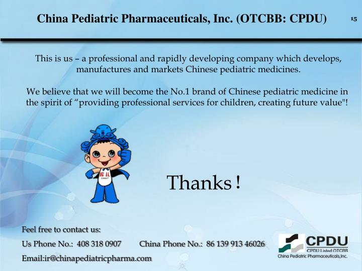 China Pediatric Pharmaceuticals, Inc. (OTCBB: CPDU)