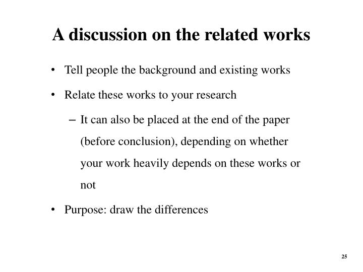 A discussion on the related works