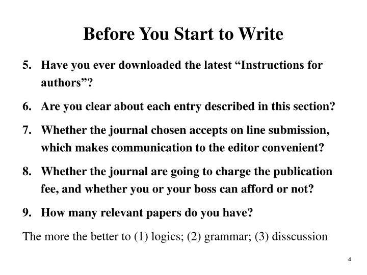 Before You Start to Write