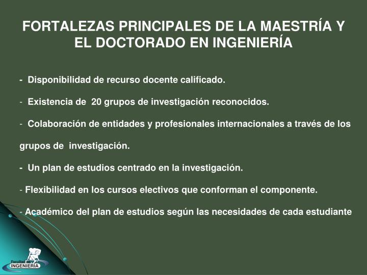 FORTALEZAS PRINCIPALES DE LA MAESTRÍA Y EL DOCTORADO EN INGENIERÍA