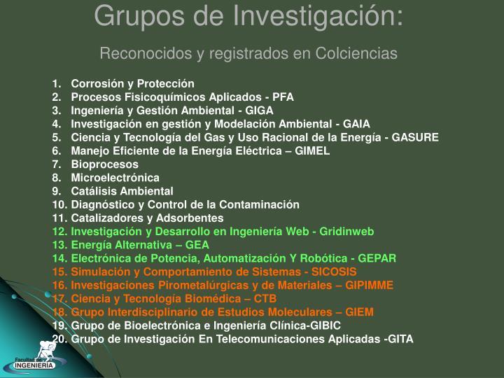 Grupos de Investigación: