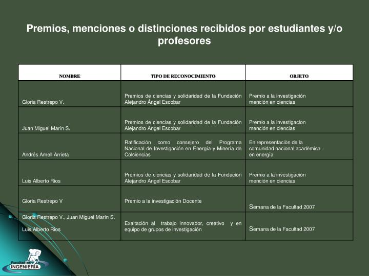 Premios, menciones o distinciones recibidos por estudiantes y/o profesores