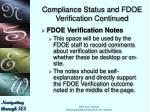 compliance status and fdoe verification continued