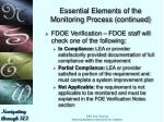 essential elements of the monitoring process continued