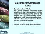 guidance for compliance lea4