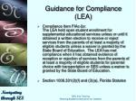 guidance for compliance lea6
