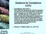 guidance for compliance lea9