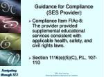 guidance for compliance ses provider6