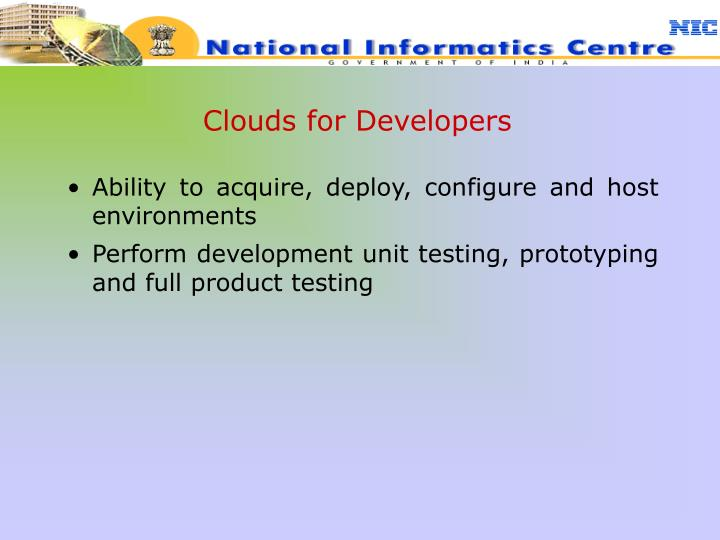 Clouds for Developers