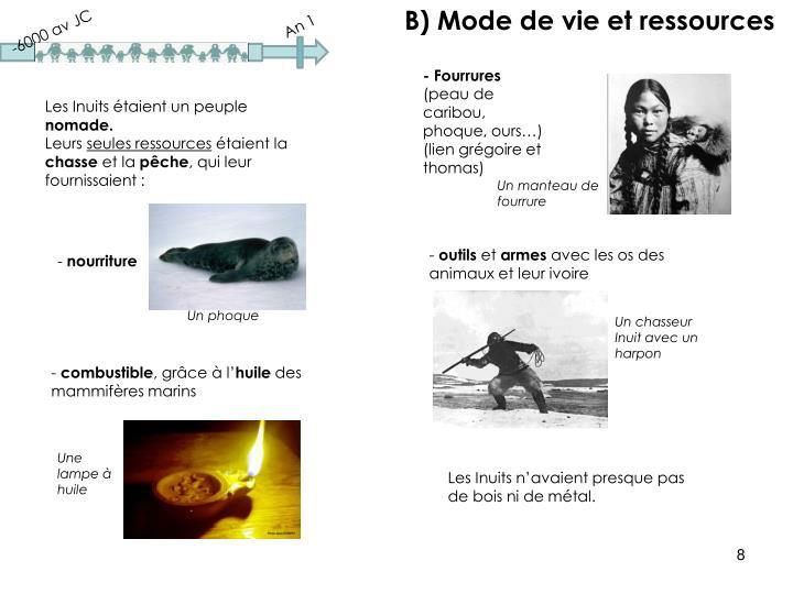 B) Mode de vie et ressources