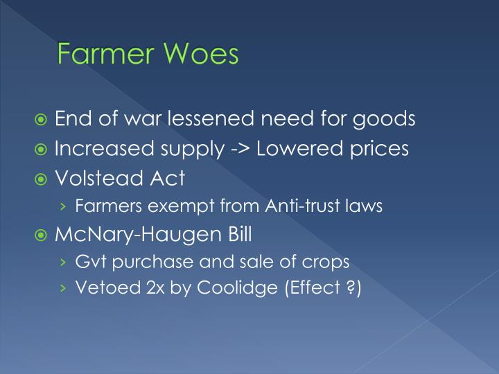 Farmer Woes
