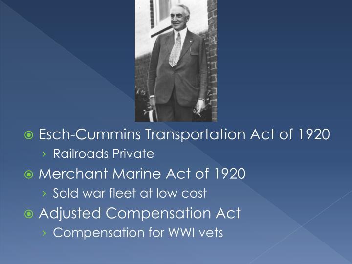 Esch-Cummins Transportation Act of 1920