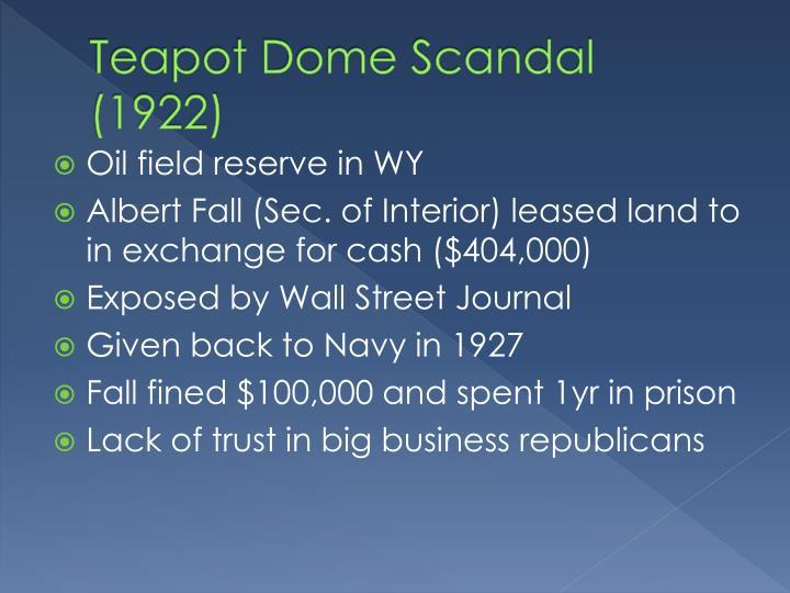 Teapot Dome Scandal (1922)