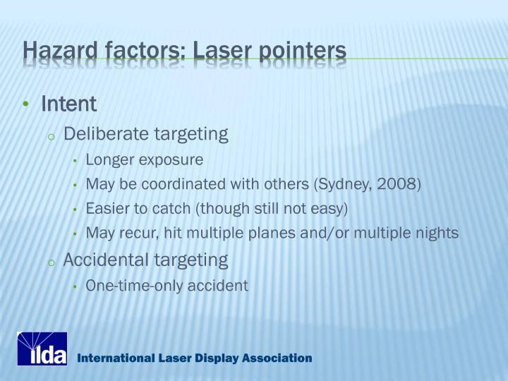 Hazard factors: Laser pointers