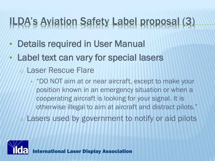ILDA's Aviation Safety Label proposal (3)