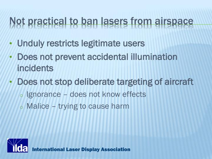 Not practical to ban lasers from airspace