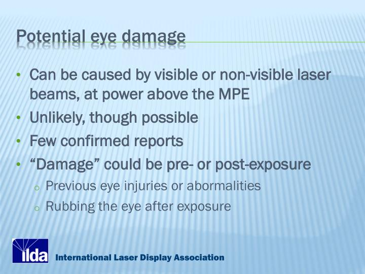 Potential eye damage