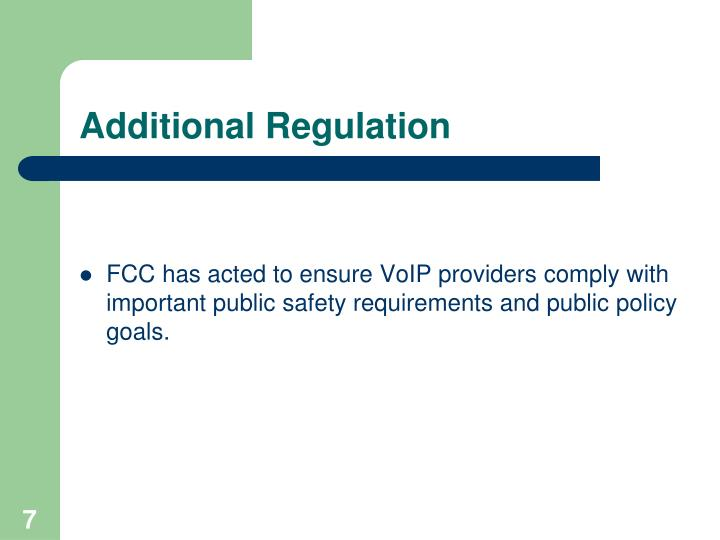 Additional Regulation