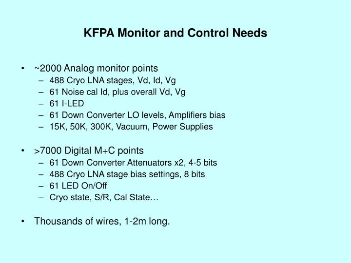 KFPA Monitor and Control Needs