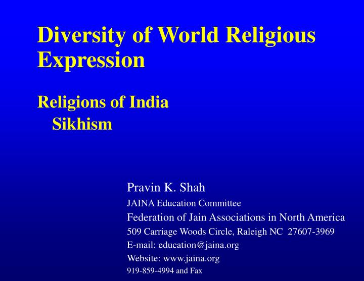 Diversity of World Religious Expression