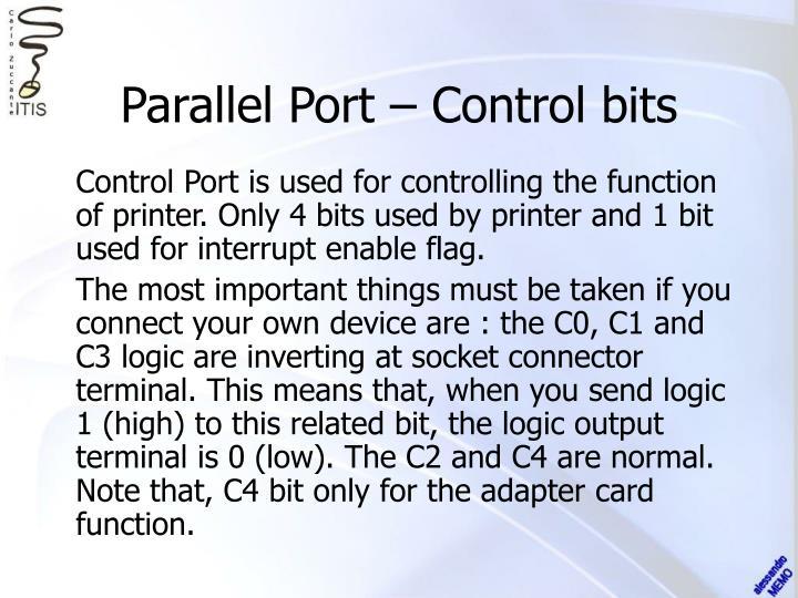 Parallel Port – Control bits