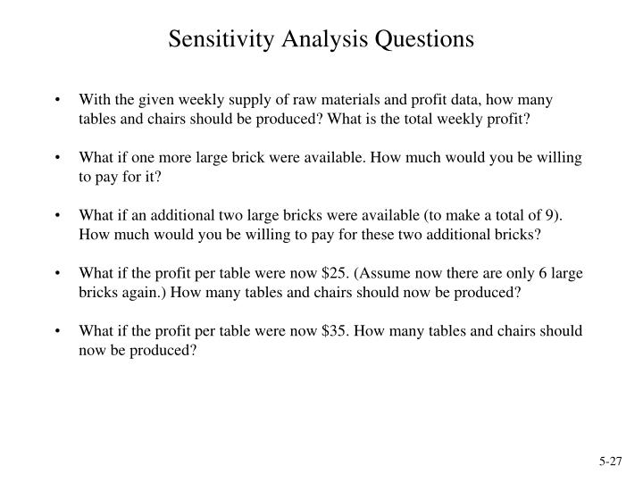 Sensitivity Analysis Questions