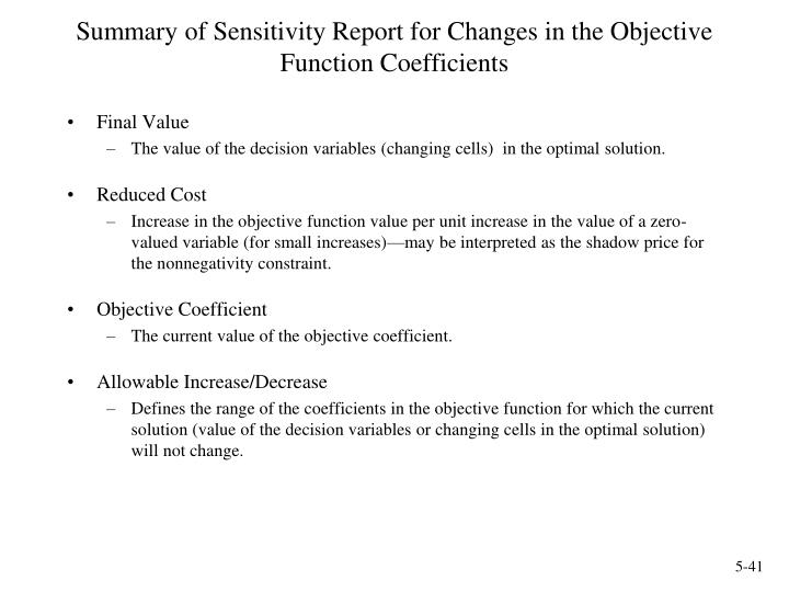 Summary of Sensitivity Report for Changes in the Objective Function Coefficients
