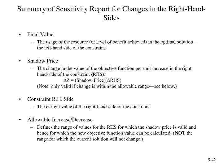 Summary of Sensitivity Report for Changes in the Right-Hand-Sides