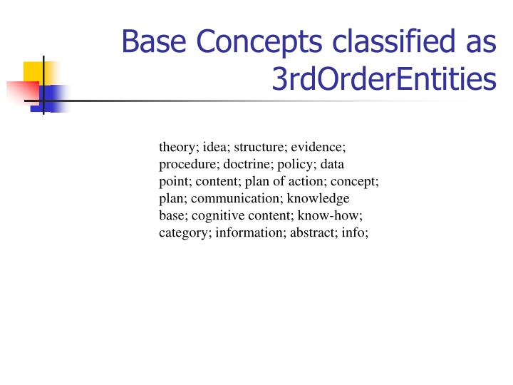 Base Concepts classified as 3rdOrderEntities