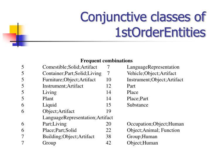 Conjunctive classes of 1stOrderEntities