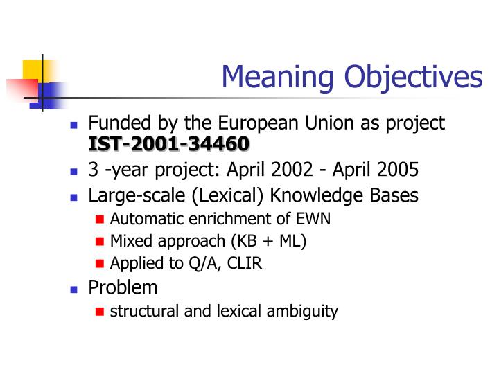 Meaning Objectives