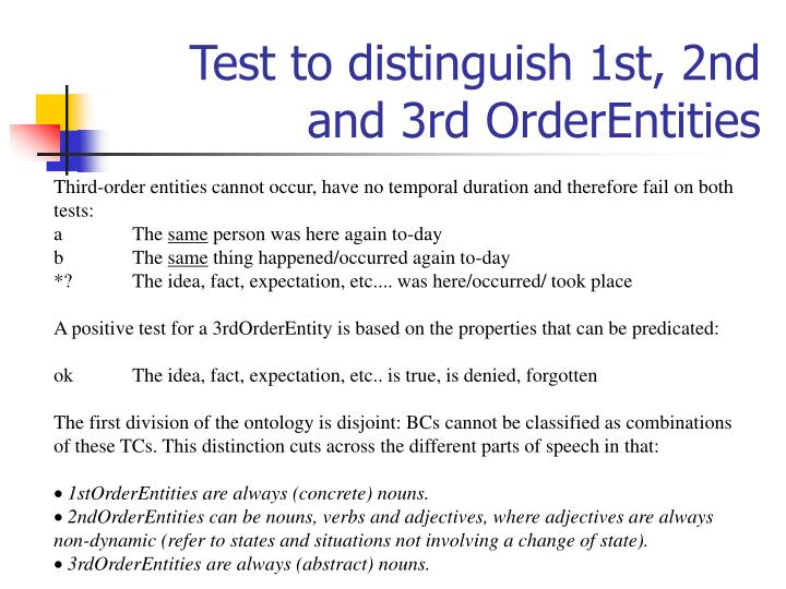 Test to distinguish 1st, 2nd and 3rd OrderEntities