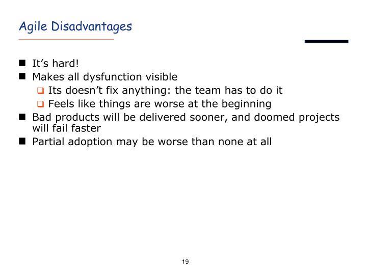 Agile Disadvantages