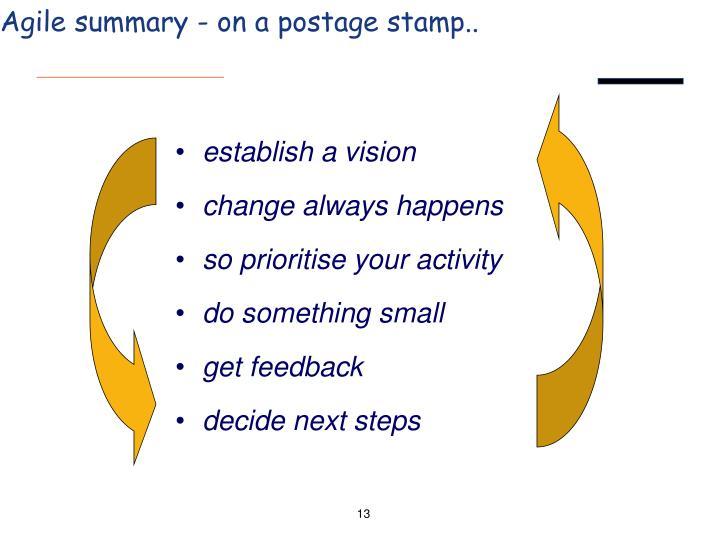 Agile summary - on a postage stamp..