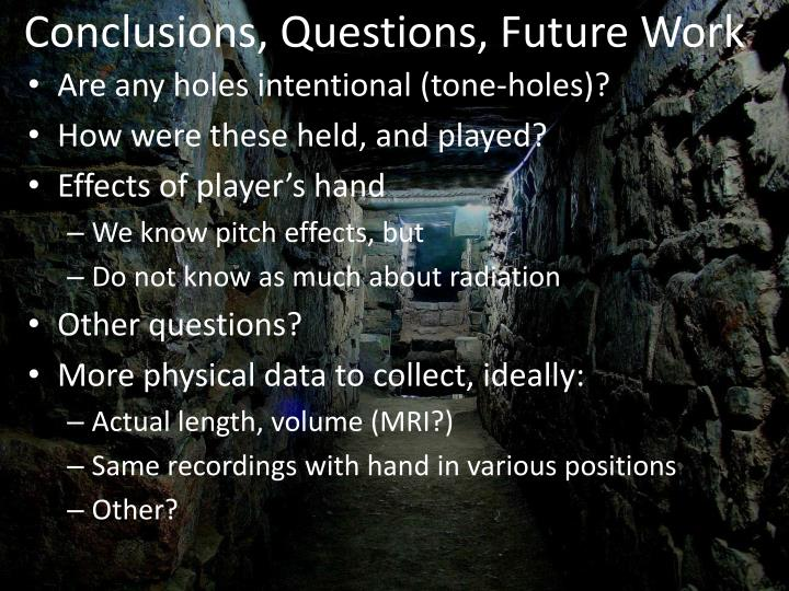 Conclusions, Questions, Future Work