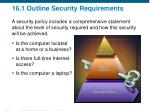 16 1 outline security requirements