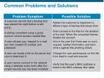 common problems and solutions
