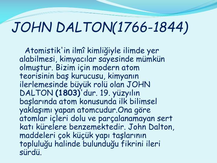 JOHN DALTON(1766-1844)