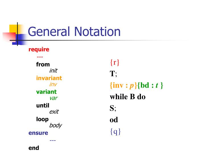 General notation