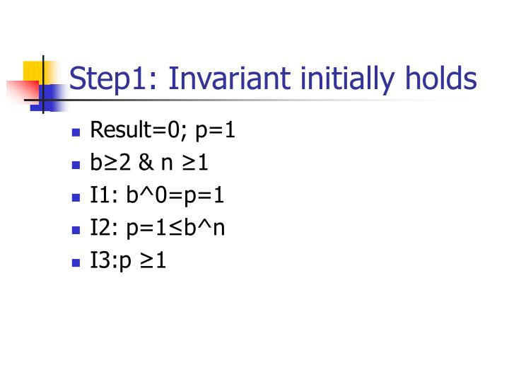 Step1: Invariant initially holds