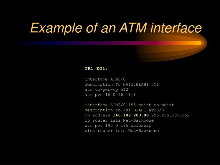 Example of an ATM interface